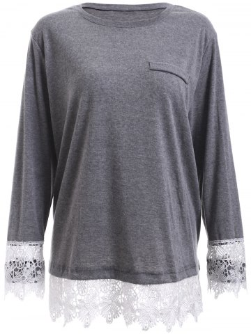 Outfit Plus Size Lace Splicing Long Sleeve T-Shirt GRAY 5XL