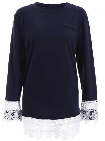 Plus Size Lace Splicing Long Sleeve T-Shirt - Deep Blue - Xl
