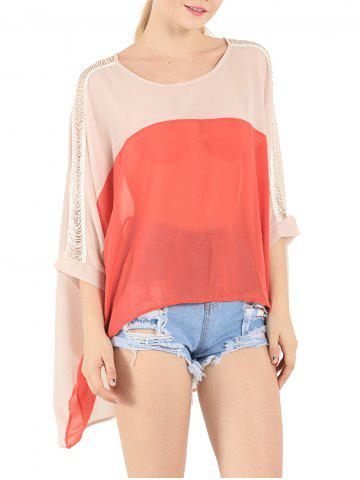 Cheap Ripped Crochet Paneled Color Splicing Asymmetrical Blouse