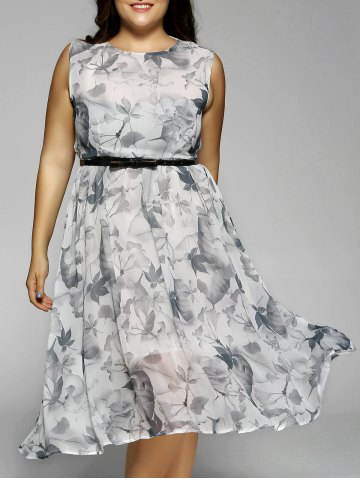 Buy Plus Size Flowers Print Sleeveless Midi Dress LIGHT GRAY 5XL