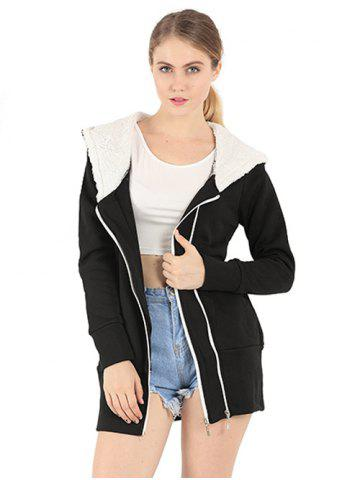 Latest Zipper Embellished Long Sleeve Hoodie - 3XL BLACK Mobile