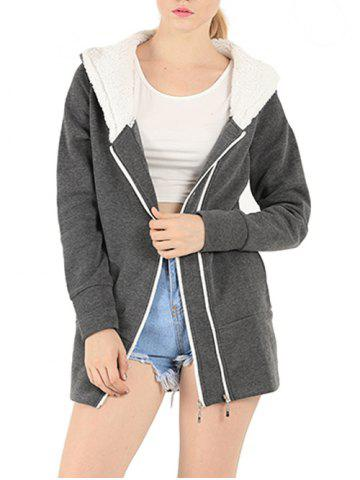 Zipper Embellished Long Sleeve Hoodie - Deep Gray - Xl