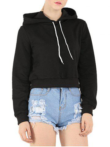 Fashion Long Sleeve Drawstring Cropped Hoodie