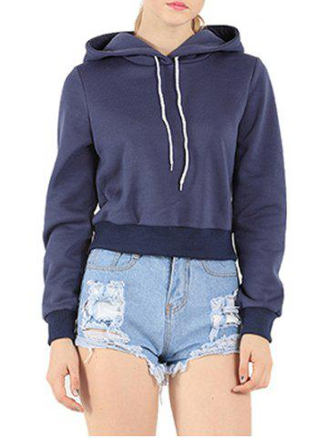 Long Sleeve Drawstring Cropped Hoodie - Purplish Blue - S