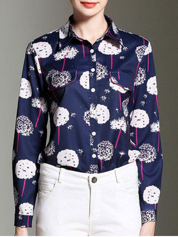 Dandelion Print Button Design Formal Shirt - Deep Blue - 2xl