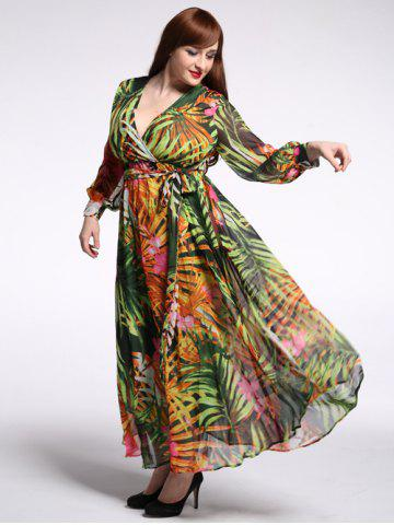 Outfit Plus Size Plunging Neck Floral Hawaiian Beach Maxi Dress GREEN 7XL