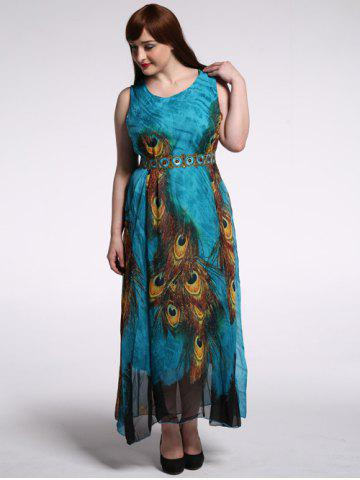 Store High Waist Plus Size Animal Print Dress PEACOCK BLUE 9XL