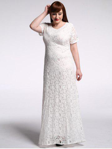 Floor Length Lace Floral Maxi Prom Dress - White - 5xl