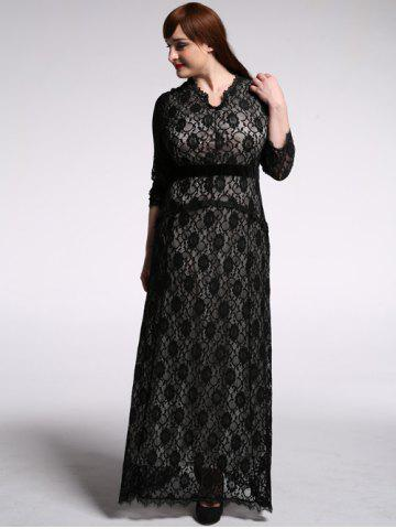 Latest Plus Size Maxi Lace Formal Dress with Sleeves BLACK 6XL