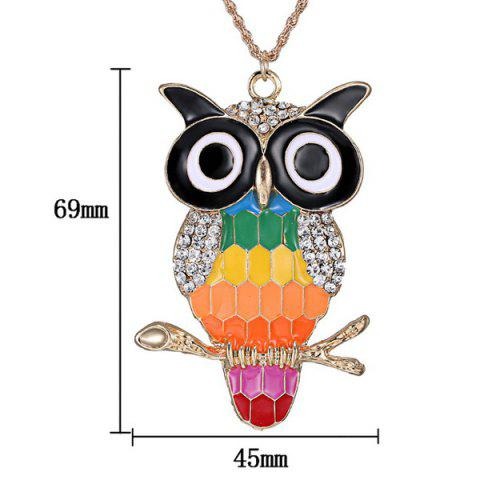 Affordable Rhinestone Owl Branch Glazed Pendant Sweater Chain - COLORMIX  Mobile