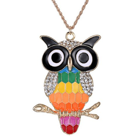 Chic Rhinestone Owl Branch Glazed Pendant Sweater Chain - COLORMIX  Mobile