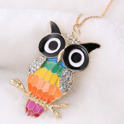 Discount Rhinestone Owl Branch Glazed Pendant Sweater Chain - COLORMIX  Mobile