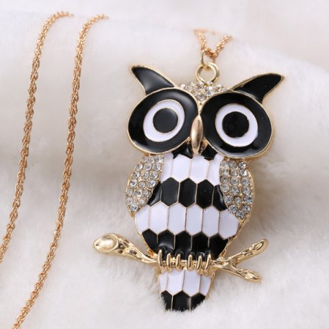 Affordable Rhinestone Owl Branch Glazed Pendant Sweater Chain - WHITE AND BLACK  Mobile
