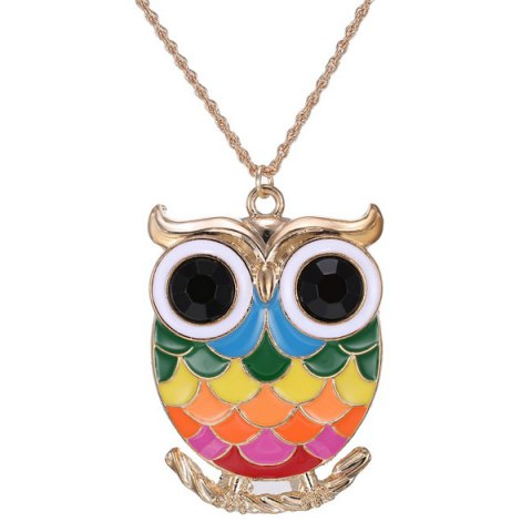 Affordable Owl Branch Glaze Pendant Sweater Chain COLORMIX