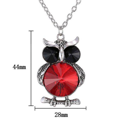 Outfit Faux Crystal Owl Pendant Sweater Chain - RED  Mobile