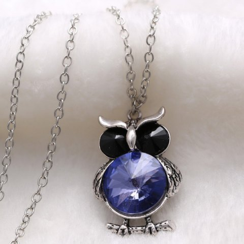 Outfit Faux Crystal Owl Pendant Sweater Chain - BLUE  Mobile