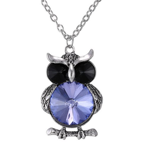 Faux Crystal Owl Pendant Sweater Chain - Blue - 2xl