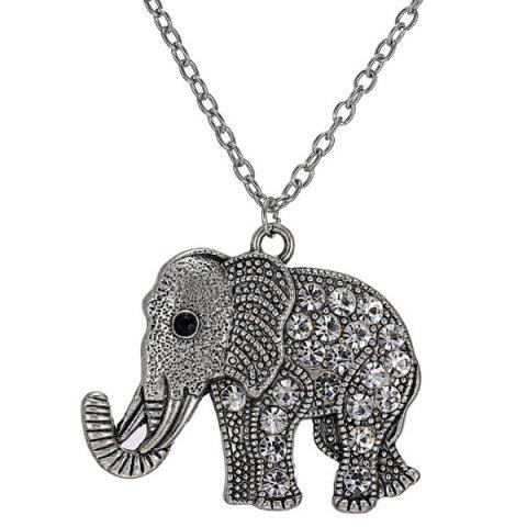 Cheap Rhinestoned Engraved Elephant Pendant Sweater Chain