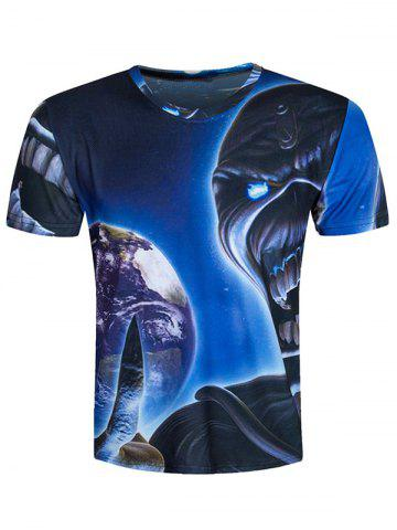 Chic Round Neck Demon 3D Printed Cool T-Shirt BLUE 2XL