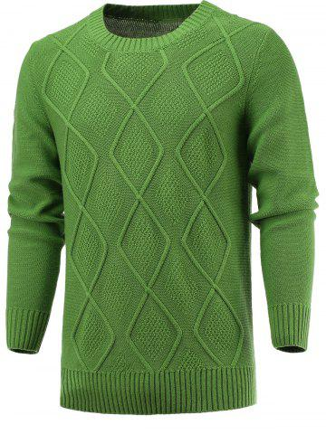 Affordable Geometric Knitted Long Sleeve Sweater GRASS GREEN 2XL