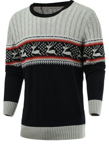 New Color Blocks Spliced Elk Knitted Sweater GRAY 2XL
