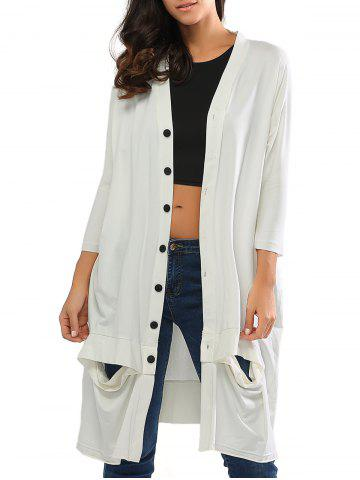 Buy Collarless Cut Out Longline Button Up Cardigan