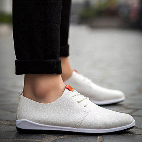 Online Concise Lace-Up and PU Leather Design Casual Shoes For Men
