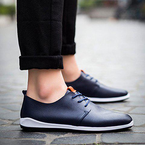 Shops Concise Lace-Up and PU Leather Design Casual Shoes For Men