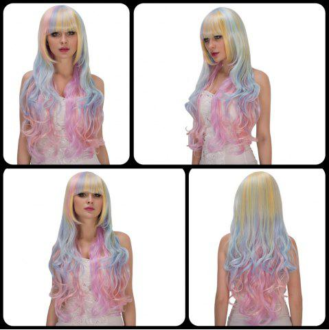 Chic Faddish Rainbow Long Full Bang Wavy Film Character Cosplay Wig