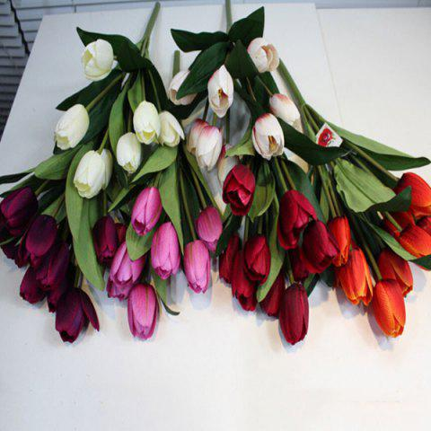 Outfit A Bouquet of 9 Heads Tulip Home Decor Artificial Flower - WHITE  Mobile