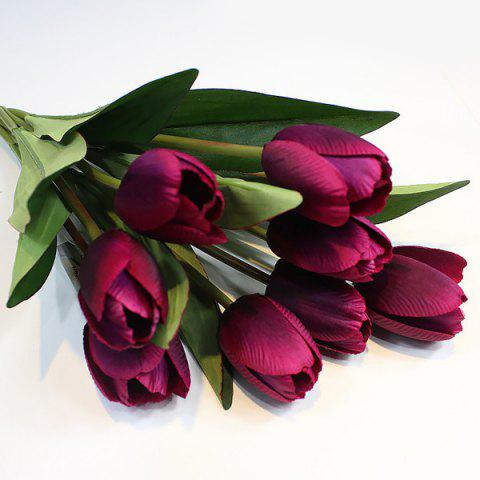 Outfit A Bouquet of 9 Heads Tulip Home Decor Artificial Flower PURPLE