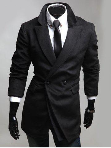 Hot Notched Lapel Collar Double Breast Coat BLACK L
