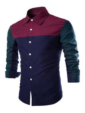 New Color Block Spliced Design Turn-Down Collar Long Sleeve Shirt - L WINE RED Mobile
