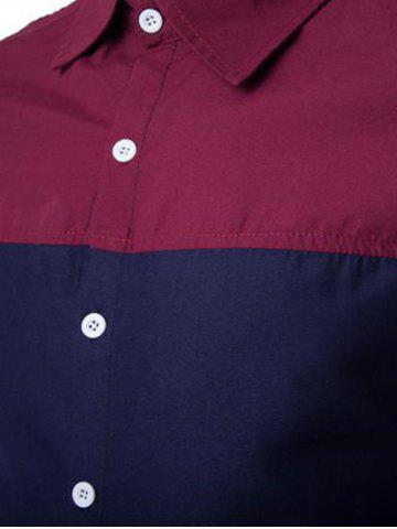 Unique Color Block Spliced Design Turn-Down Collar Long Sleeve Shirt - M WINE RED Mobile