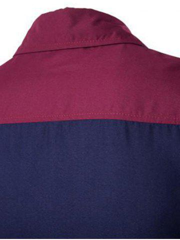 Fashion Color Block Spliced Design Turn-Down Collar Long Sleeve Shirt - M WINE RED Mobile