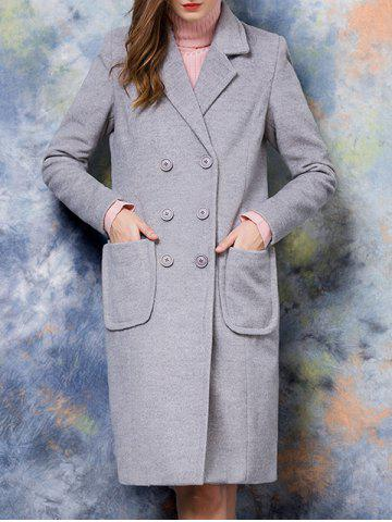 Sale Double-Breasted Pocket Design Solid Color Coat