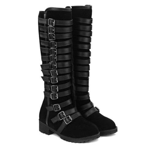 Best Multi Buckles Suede Design Mid-Calf Boots - 38 BLACK Mobile