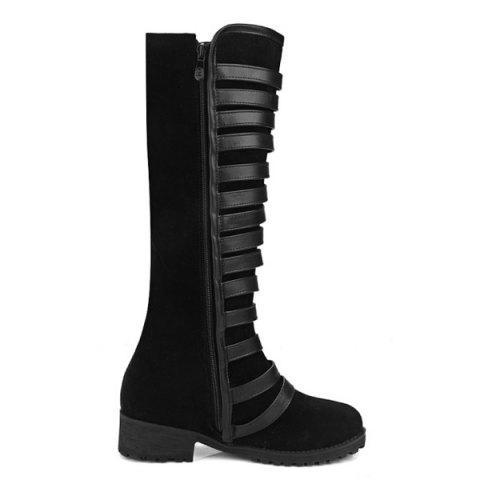 Outfits Multi Buckles Suede Design Mid-Calf Boots - 38 BLACK Mobile