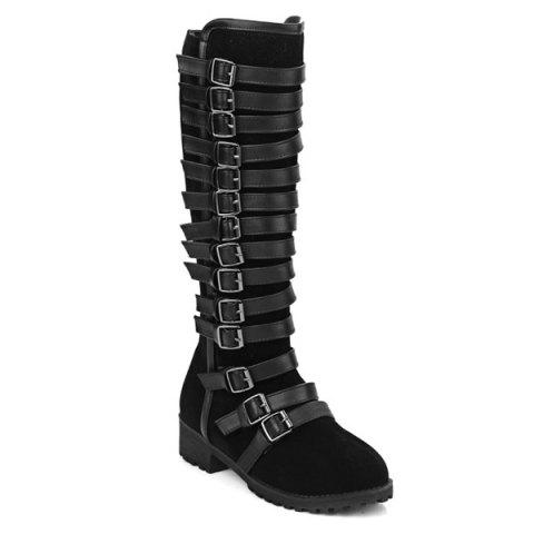 Discount Multi Buckles Suede Design Mid-Calf Boots - 38 BLACK Mobile