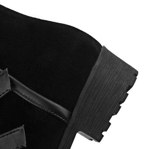 Hot Multi Buckles Suede Design Mid-Calf Boots - 38 BLACK Mobile