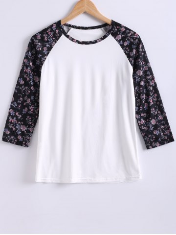 Shops Round Neck Color Block Printed T-Shirt