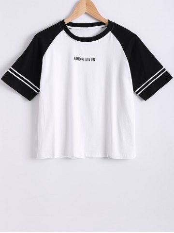 Shop Raglan Sleeve Color Block Letter Print T-Shirt