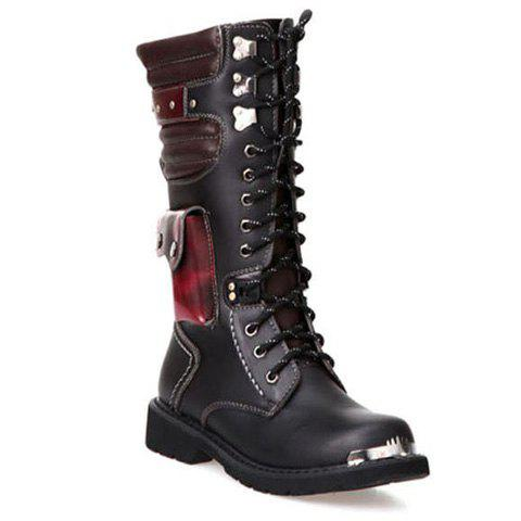 Shop Stylish Color Block and Metal Design Combat Boots For Men BLACK 43