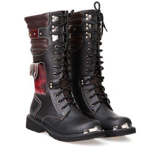 Discount Stylish Color Block and Metal Design Combat Boots For Men - 41 BLACK Mobile