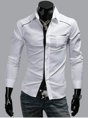 Fashion Turn-Down Collar Band Design Long Sleeve Shirt
