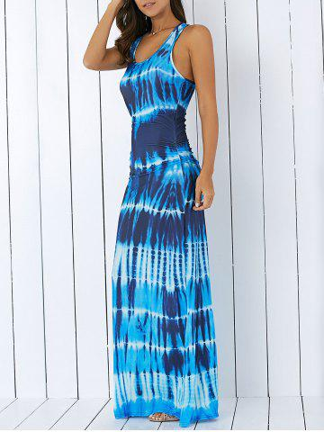 Fashion Bohemian Tie-Dye Illusion Print Racerback Maxi Tank Dress - XL BLUE Mobile