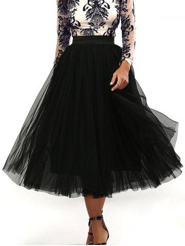 Unique Pleated Tulle Pure Color Gown Midi Skirt BLACK ONE SIZE