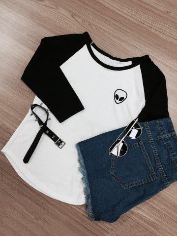 Hot Raglan Sleeve Color Block Skull Print T-Shirt WHITE AND BLACK XL