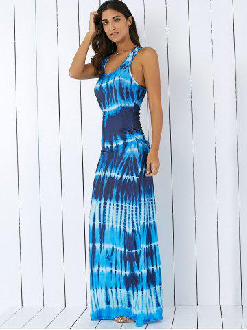 a46d25a2e27 Bohemian Tie-Dye Illusion Print Racerback Long Tank Dress
