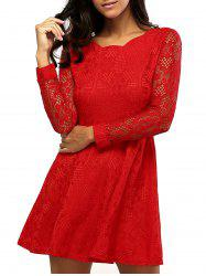 Lace Sleeve Scalloped Neck Skater Dress - RED 3XL